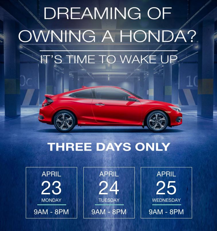 3 Day VIP Sale at Honda Downtown – April 23 – 25 Only!