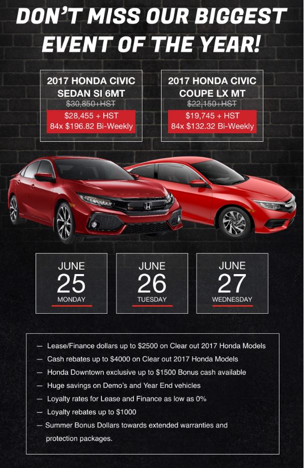 3 Day VIP Sale at Honda Downtown – June 25 – 27 Only!