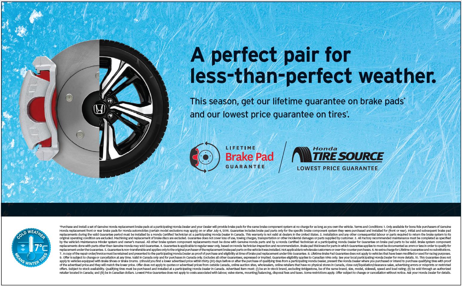 Lifetime guarantee on brake pads