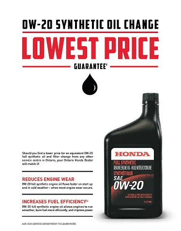 Promotion: 0W-20 Synthetic Oil and Filter Change price match