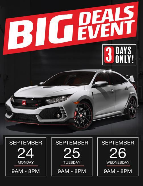 3 Day VIP Sale at Honda Downtown – Sept 24 – 26 Only!