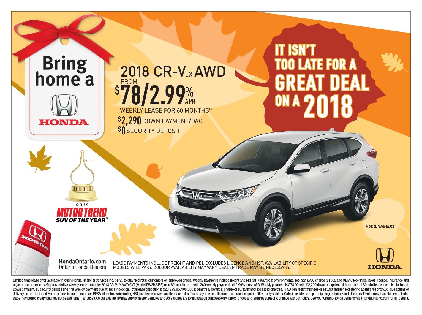 2018 Honda CR-V LX | Bring Home a Honda Event