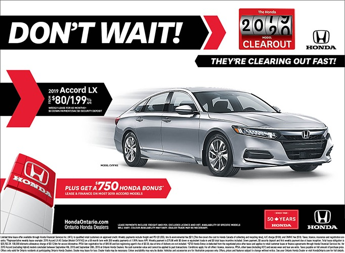 Clearout 2019 Honda Accord LX