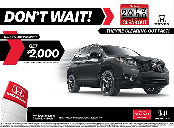 Clearout 2019 Honda Passport