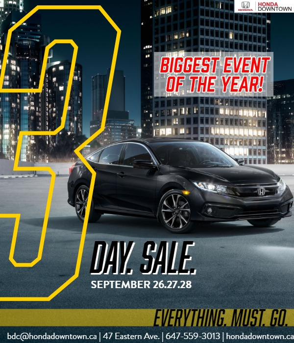 Honda Downtown's Clearout 3-Day Sales Event