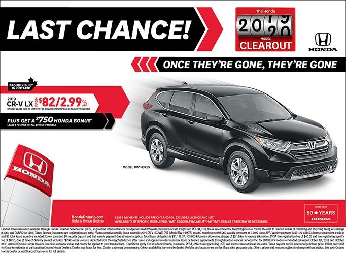 Clearout 2019 Honda CRV LX