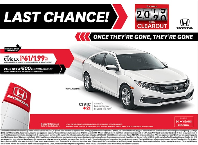 Clearout 2019 Honda Civic LX
