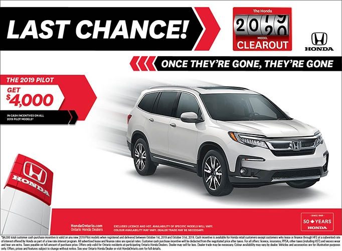 Clearout 2019 Honda Pilot