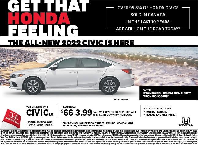 2022 Honda Civic LX Lease